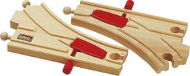 BRIO 33344004 Mechanisches Weichenpaar (L1/M1), Holz, ab 36 Monate - 6 Jahre, beige