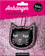 Anhänger zum Besticken: Kunstleder-Katze (100% s.g./Ruck,zuck)