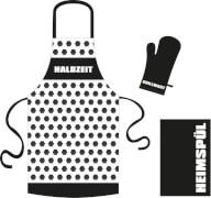 3-teiliges Grill- / Küchenset Halbzeit Schürze, Küchentuch, Handschuh